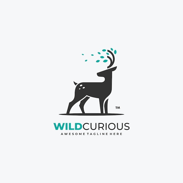 Nature deer with leaves logo vector template Premium Vector