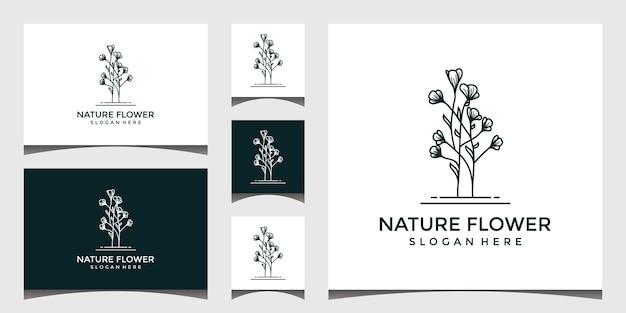 自然の花のロゴのデザイン Premiumベクター