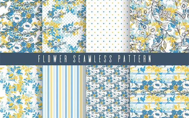 Nature flower small seamless pattern set Premium Vector