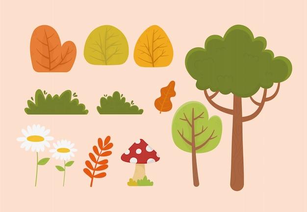 Nature foliage tree flower mushroom leaf bush vegetation icons illustration Premium Vector