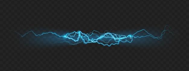 火花による強力な充電雷の自然力効果。 Premiumベクター