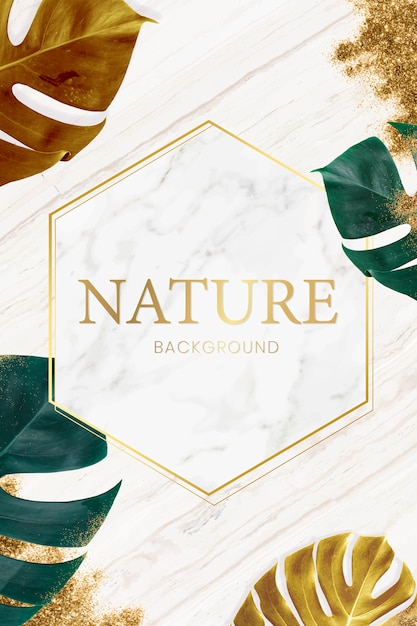 Nature frame on marble Free Vector