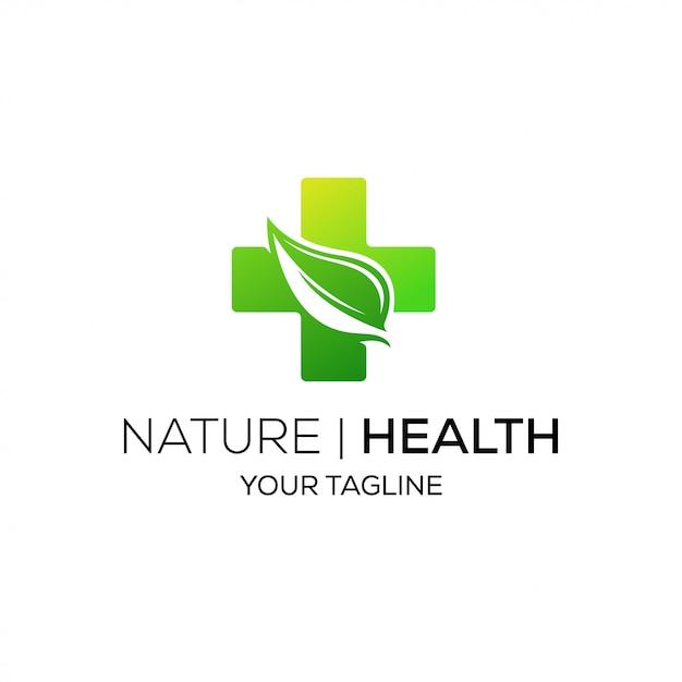 自然新緑葉健康医療ロゴ Premiumベクター