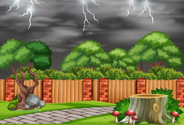 A nature garden in bad weather Free Vector