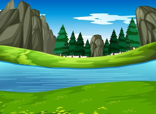 A nature green landscape Premium Vector