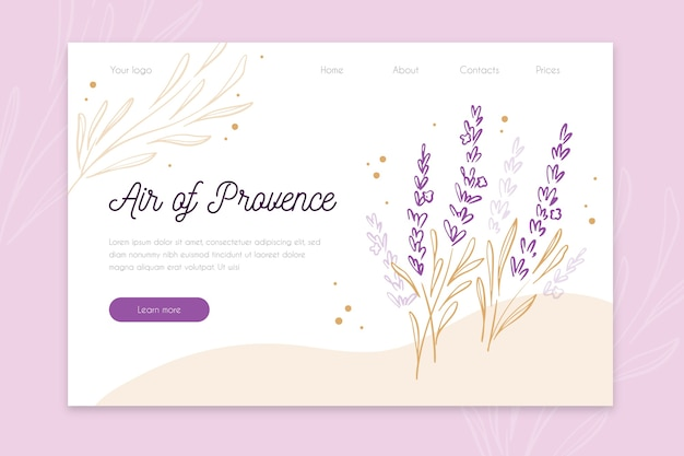 Nature hand drawn landing page template Free Vector