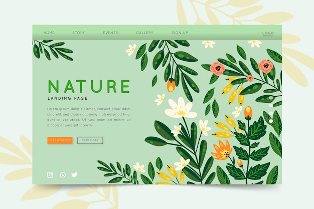 Nature hand-drawn landing page Free Vector