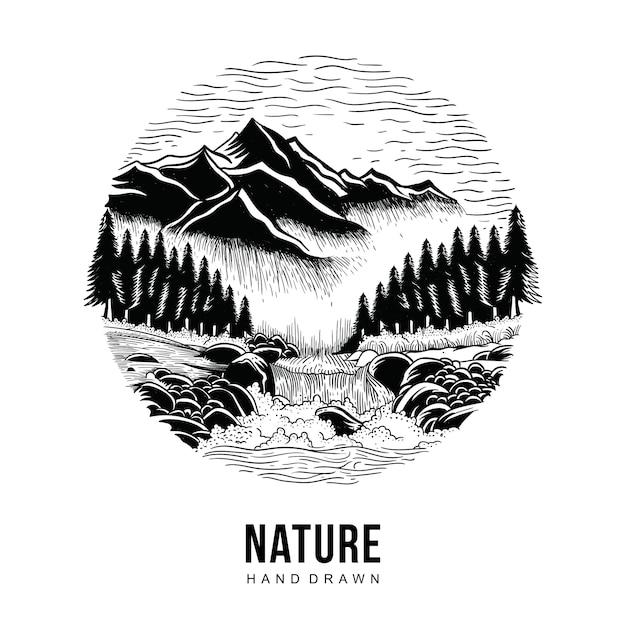 Nature hand drawn Premium Vector
