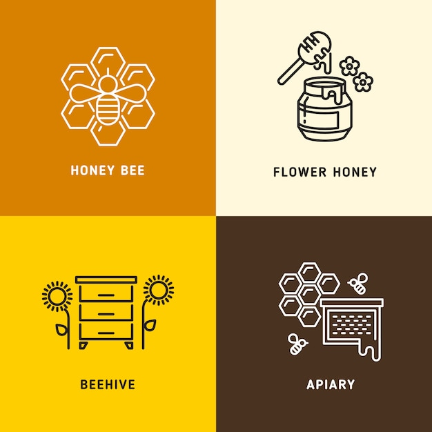 Nature honey, bees honeycomb vector logos Premium Vector