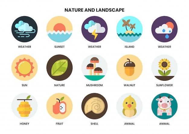 Nature icons set Premium Vector