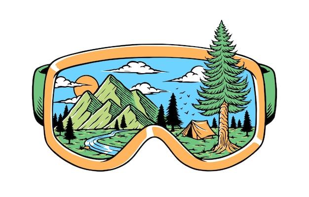 Природа в очках иллюстрации Premium векторы
