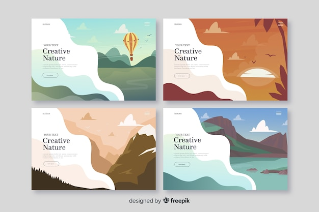Nature landing page collection Free Vector