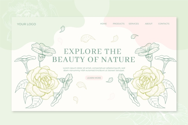 Nature landing page hand drawn Free Vector