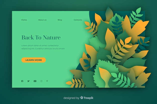 Nature landing page template in paper style Free Vector