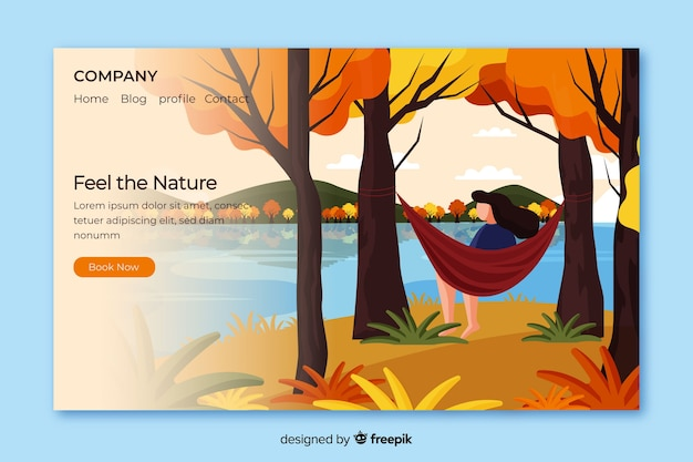 Целевая страница природы с пейзажем Бесплатные векторы