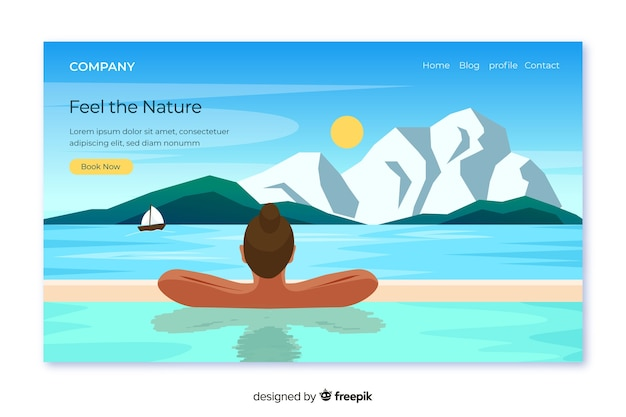 Nature landing page with landscape Free Vector