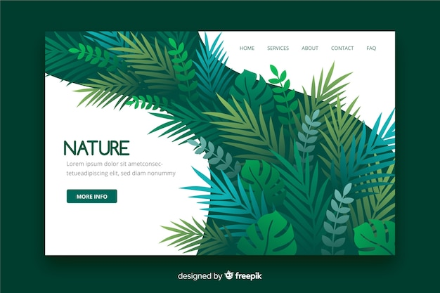 Nature landing page with leaves Free Vector