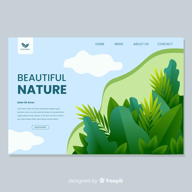 Nature landing page with vegetation design Free Vector