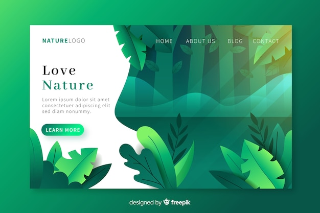 Nature landing page Free Vector
