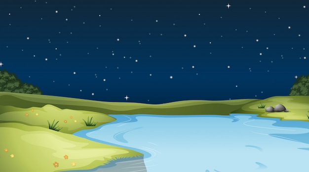 A nature landscape background  at night Free Vector