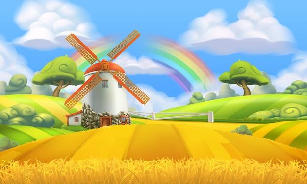 自然の風景。農場と工場の背景 Premiumベクター
