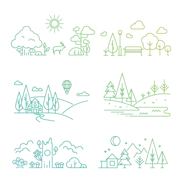 Nature landscape illustration with tree, plants, mountains, river Premium Vector