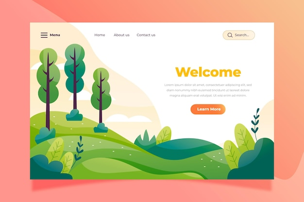 Nature landscape landing page template Free Vector