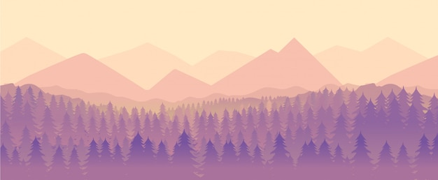Nature landscape, mountain and forest Premium Vector