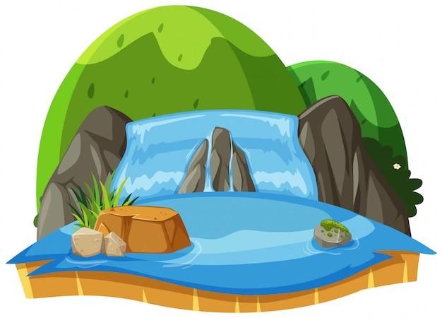 滝と緑の丘の自然風景 Premiumベクター