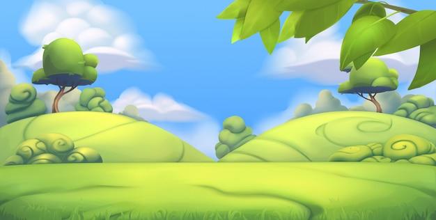 Nature landscape. park. 3d  background Premium Vector