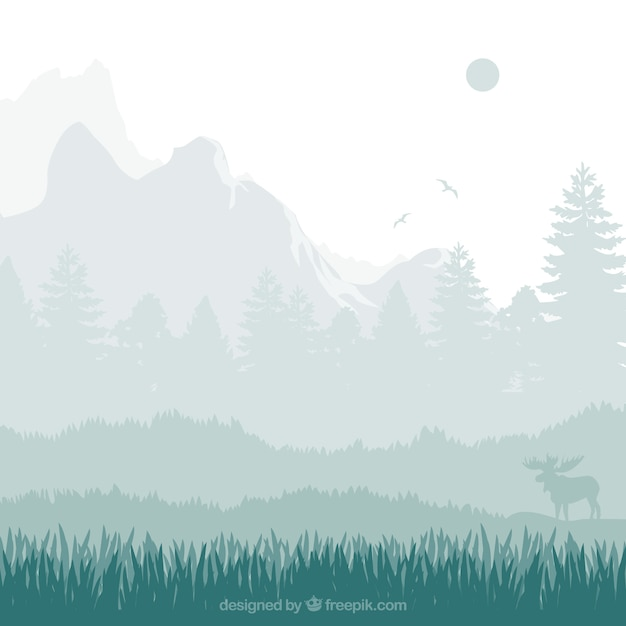 Nature landscape silhouettes Vector | Free Download