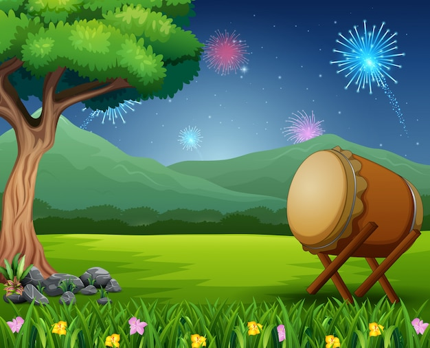 Nature landscape with a drum and fireworks in the sky Premium Vector