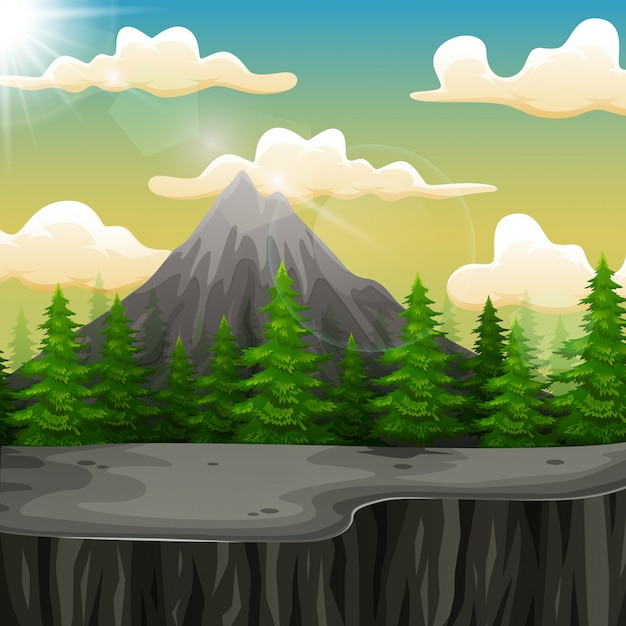 Nature landscape with mountain and the cliff Premium Vector