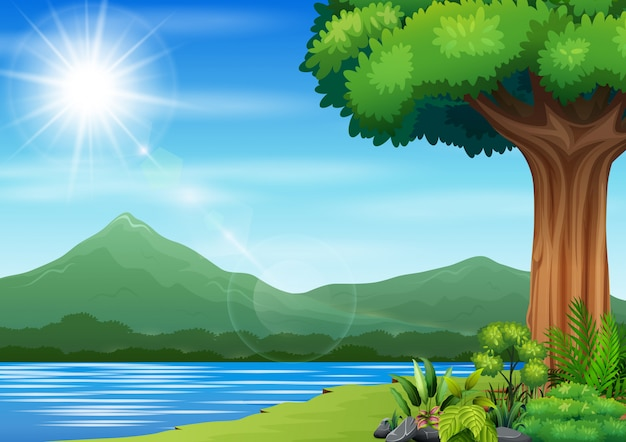 Nature landscape with a river and mountain background Premium Vector