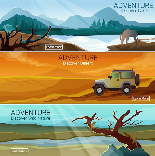 Nature landscapes travel flat banners set Free Vector