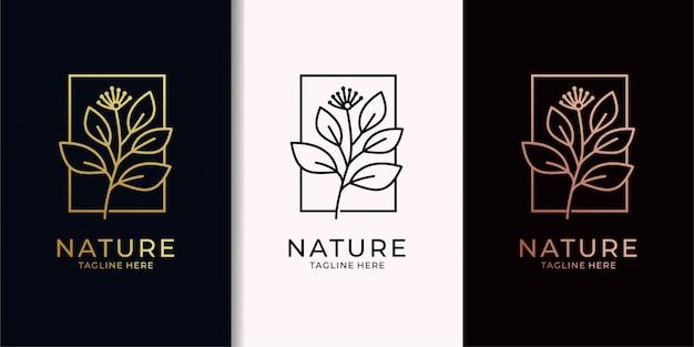 ネイチャーリーフエレガンゴールドロゴデザイン Premiumベクター