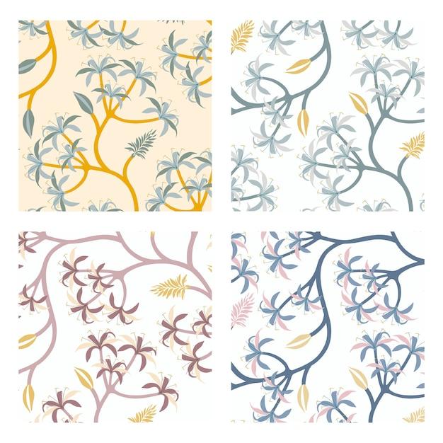 Nature leaf pattern design set Free Vector