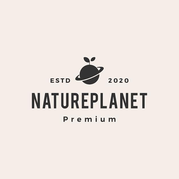 自然の葉もやし惑星ヴィンテージロゴアイコンイラスト Premiumベクター