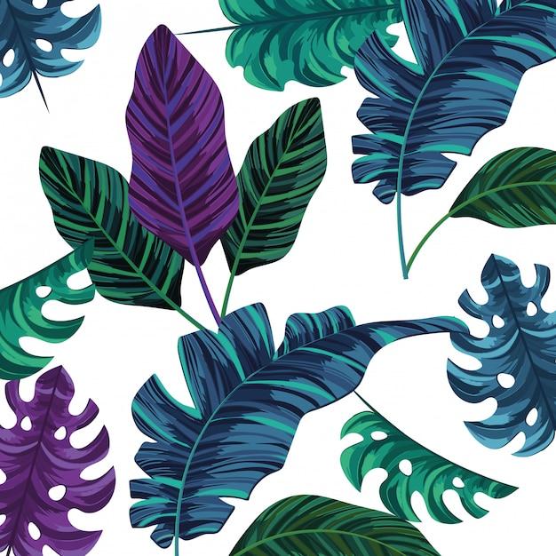 Nature leafs cartoon pattern background Premium Vector
