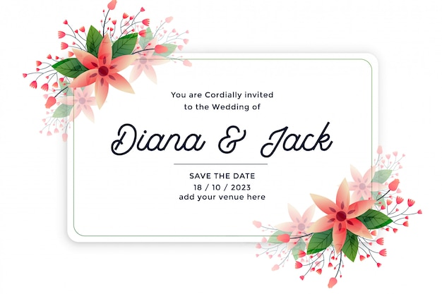 Nature leaves and flower wedding invitation card Free Vector