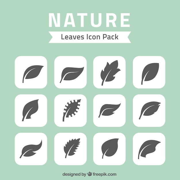nature leaves icons pack Free Vector