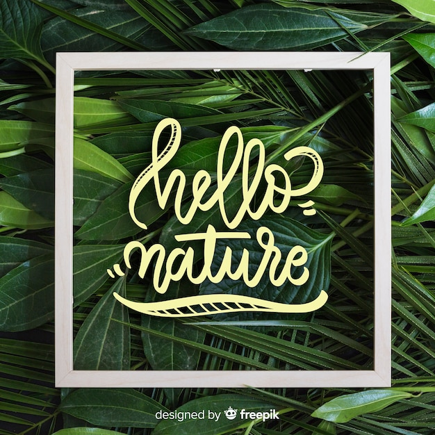 Nature lettering background with photo Free Vector