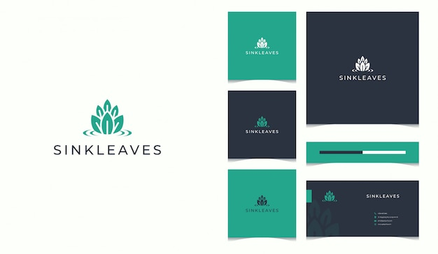 Nature logo completed with business card design template Premium Vector