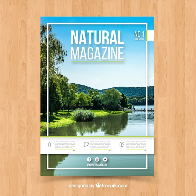 Nature Magazine Cover Template With Photo Vector Free Download