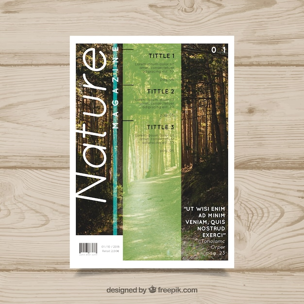 Nature magazine cover template with\ photo