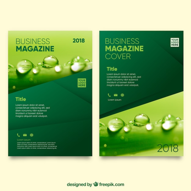 Nature magazine cover template with photo Free Vector