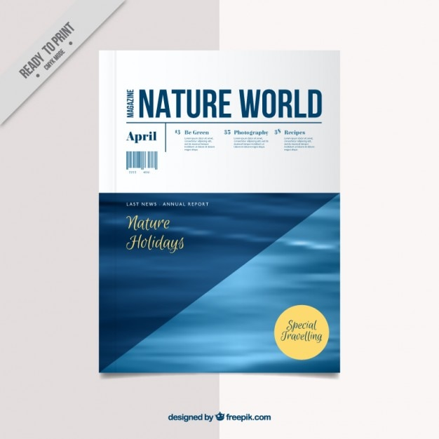 Nature magazine cover template Vector | Free Download