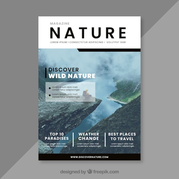 Magazine Cover Template | Nature Magazine Cover Template Vector Free Download