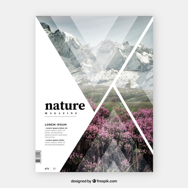 Nature magazine cover template Free Vector