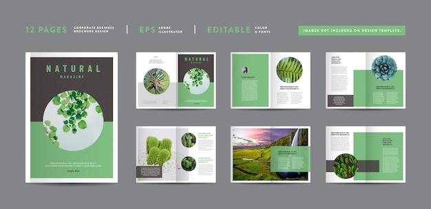 ネイチャー誌のデザイン|エディトリアルルックブックのレイアウト|多目的ポートフォリオ|フォトブックデザイン Premiumベクター